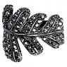 Leaves Ring Hematite Plated